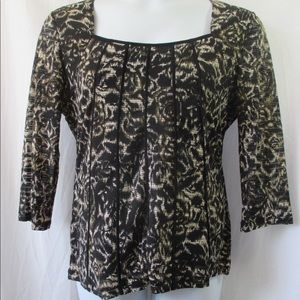 Susan Lawrence Top Sz XL Square Neck 3/4 Sleeves